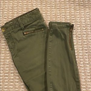 Banana Republic green zipper pants